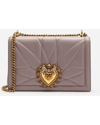 Dolce & Gabbana Large Devotion Bag In Quilted Nappa Leather - Natural
