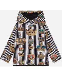 Dolce & Gabbana Windjacke Mit Kapuze Aus Nylon Kronenprint - Schwarz