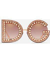 Dolce & Gabbana Occhiali Da Sole Dg Glitter - Rosa