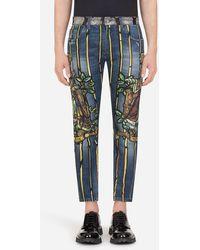 Dolce & Gabbana Stretch Skinny Jeans With Napoleon Print - Blue