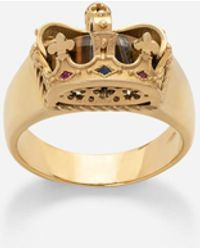Dolce & Gabbana Crown Yellow Gold Ring With Iron Eye On The Inside - Metallic