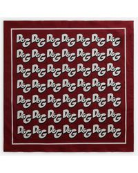 Dolce & Gabbana Cotton Bandanna With All-over D&g Print - Red