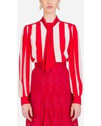 Dolce & Gabbana - Striped Crepe De Chine Blouse - Lyst