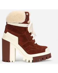 Dolce & Gabbana Trekking Shearling & Suede Bootie - Brown
