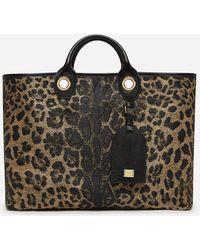 Dolce & Gabbana Large Capri Shopping Bag In Jacquard Raffia With Leopard Print - Multicolore