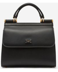 Dolce & Gabbana Medium Sicily 58 Bag In Calfskin And Cashmere Split-Grain Leather - Noir