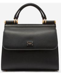 Dolce & Gabbana Medium Sicily 58 Bag In Calfskin And Cashmere Split-Grain Leather - Negro