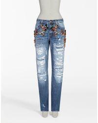 Dolce & Gabbana Boyfriend Fit Jeans With Jewel Applications - Blue