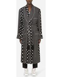 Dolce & Gabbana Silk Robe With Polka-dot Print - Black
