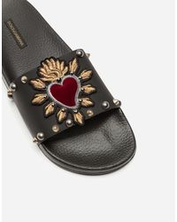 Dolce & Gabbana Rubber And Calfskin Sliders With Heart Patch - Black