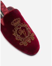 Dolce & Gabbana Pantofola In Velluto Con Ricamo - Rosso