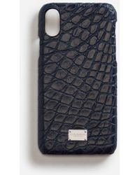 Dolce & Gabbana Iphone X Cover With Details In Crocodile - Blue