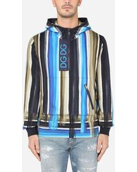 Dolce & Gabbana Printed Jersey Hoodie With Dg Patch - Blue