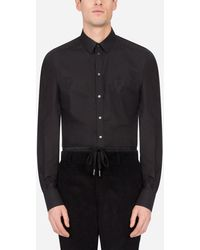 Dolce & Gabbana Cotton Gold-Fit Shirt With Dg Embroidery - Negro
