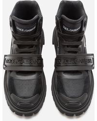 Dolce & Gabbana Mixed Material Trekking Shoes With Logo - Black