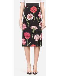 Dolce & Gabbana Long Carnation Print Charmeuse Skirt - Multicolour