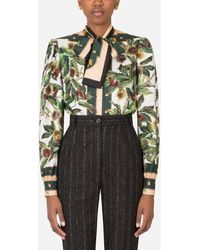 Dolce & Gabbana Chestnut Print Shirt In Twill With Bow - Green