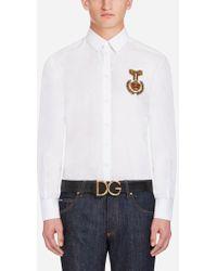 Dolce & Gabbana - Camisa Ajuste Martini De Algodón Con Parche - Lyst