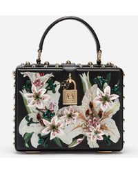 3788cec0c6 Dolce & Gabbana Sicily Handbag In Printed Dauphine Calfskin With  Embroideries in Yellow - Lyst
