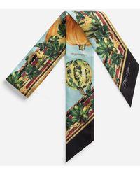 Dolce & Gabbana Twill Bandeau With Pumpkin Print - Verde