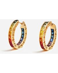 Dolce & Gabbana Multi-Colored Sapphire Hoop Earrings - Métallisé