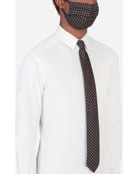 Dolce & Gabbana Polka-Dot Jacquard Face Mask And Tie Set - Blanco