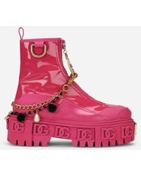Dolce & Gabbana Rubberized Calfskin And Patent Leather Ankle Boots With Bejeweled Chain And Dg Logo - Pink