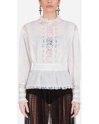 Dolce & Gabbana Muslin And Lace Blouse - Bianco