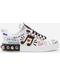 Dolce & Gabbana - Printed Calfskin Nappa Portofino Sneakers With Patch And Embroidery - Lyst