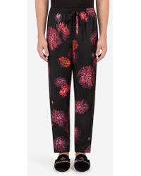 Dolce & Gabbana - Pantalón De Pijama En Seda Estampada - Lyst