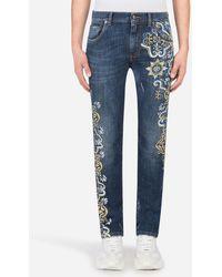 Dolce & Gabbana Stretch Skinny Jeans In Blau Mit Majolika-Print