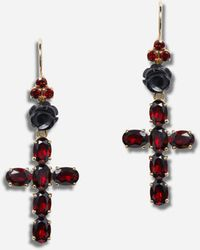 Dolce & Gabbana Family Yellow Gold Earrings With Rose And Cross Pendant - Mettallic