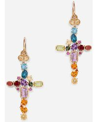 Dolce & Gabbana Rainbow Alphabet Earring In Yellow Gold With Multicolor Fine Gems - Weiß