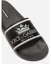 Dolce & Gabbana Crown Logo Embossed Slides - Black