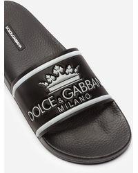 Dolce & Gabbana Slides In Gomma E Vitello Stampato - Nero