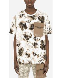 Dolce & Gabbana Floral-print Cotton T-shirt With Patch - Multicolor