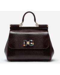 Dolce & Gabbana Mittelgrosse Sicily Tasche Aus Kalbsleder Mit Leguan-Print Und Mit Dg-Logo-Patch Aus Kristallen - Schwarz
