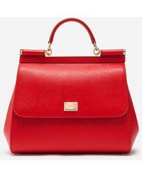 Dolce & Gabbana Dauphine Leather Regular Sicily Bag - Rojo