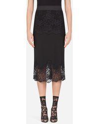 Dolce & Gabbana Crepe De Chine Midi Skirt With Lace Details - Noir