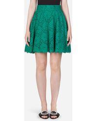 Dolce & Gabbana Short Cordonetto Lace Skirt - Green