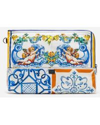 Dolce & Gabbana Necessaire In Nylon Stampato - Blu