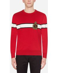 Dolce & Gabbana Crew Neck Virgin Wool Jumper With Patch - Red