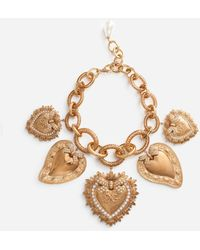 Dolce & Gabbana Necklace With Sacred Heart Charms - Metallizzato