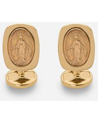 Dolce & Gabbana Devotion Yellow Gold Cufflinks With A Red Gold Virgin Mary Medallion - Metallizzato
