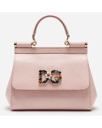 Dolce & Gabbana Small Calfskin Sicily Bag With Iguana-print And Dg Crystal Logo Patch - Pink
