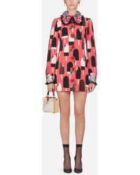 2cb544cfa6 Dolce   Gabbana - Silk Shirt Dress With Ice Cream Print - Lyst