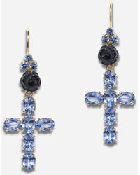 Dolce & Gabbana Family Yellow Gold Earrings With Rose And Cross Pendant - Metallizzato