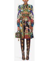 Dolce & Gabbana Midi Dress In Twill With Autumn Print - Mehrfarbig