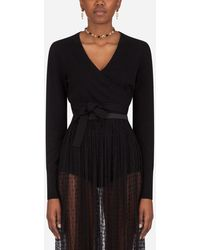 Dolce & Gabbana Cropped Cashmere Wrap Cardigan - Black