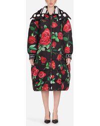 Dolce & Gabbana Oversize Down Jacket With Hood And Polka Dot Print - Black